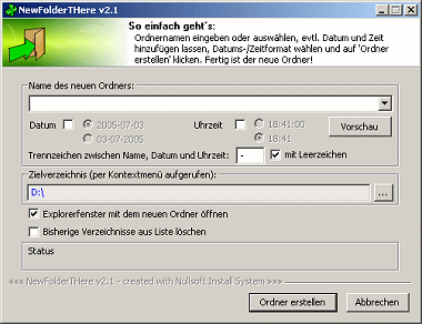 Screenshot von Windows Explorer ShellExtension: NewFolderTHere